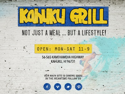 Kahuku Grill web site surf restaurant logo typography hawaii north shore kahuku kahuku grill