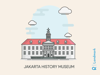 Jakarta History Museum ( Jakarta, Indonesia ) illustration buildings landmarks artwork historical history architectural architect architecture building landmark cityscape vector design