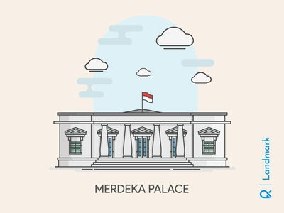 Merdeka Palace ( Jakarta, Indonesia ) flatdesign flat illustration flat design palace independence historical history design cityscape artwork architecture landmark illustration building