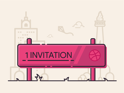 Dribbble Invitation artwork art flat design cityscape illustration vector design invitation invite dribbble invite dribbble draft