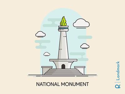 National Monument ( Jakarta, Indonesia ) vector design illustration jakarta architecture cityscape city building historical monument landmark indonesia
