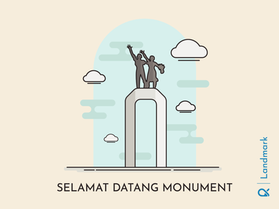 Selamat Datang Monument ( Jakarta, Indonesia ) illustration vector vecktor landmark jakarta indonesia historical historic design monument building cityscape city sculpture artwork architechture