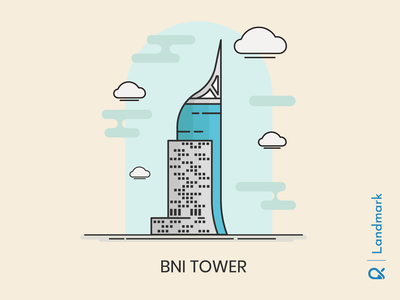 BNI Tower ( Jakarta, Indonesia ) office artwork tower building cityscape city landmark landscape architecture design vector illustration
