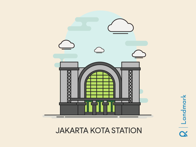 Jakarta Kota Station ( Jakarta, Indonesia ) artwork building cityscape landmark jakarta train station trainstation architect architecture vector illustration design