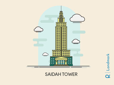 Saidah Tower ( Jakarta, Indonesia ) design scary office building artwork architectural architect architecture cityscape jakarta landmarks landmark historical building vector illustration