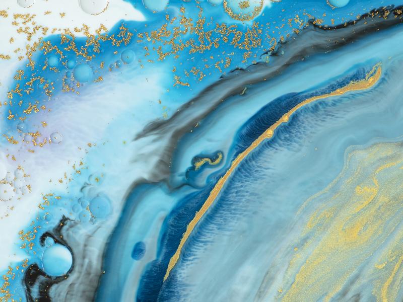 Abstract Blue Background Fluid Art
