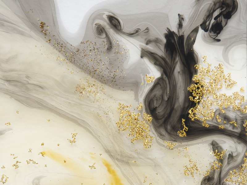 Abstract Black With Gold Glitter  Background