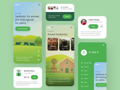 Feed additives for animals and plants green interface agriculture scientists animals plants web ui ux design app