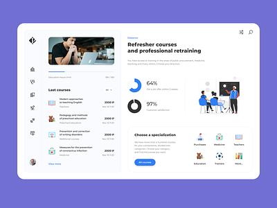 Education for professional development interface web dashboad blue design ux ui education