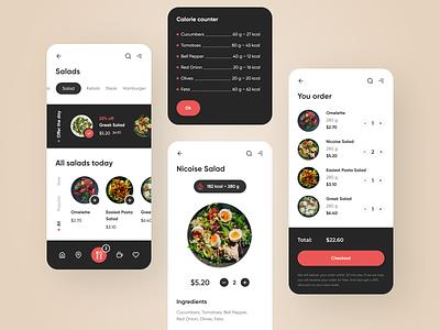 Food delivery app ui ux mobile ui mobile mobile app app menu delivery app recipe eat vegetable food app nutrition salad cart delivery food