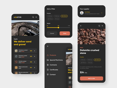 Supply of building materials mining card filter ui ux interface web delivery stone gravel sand supply building