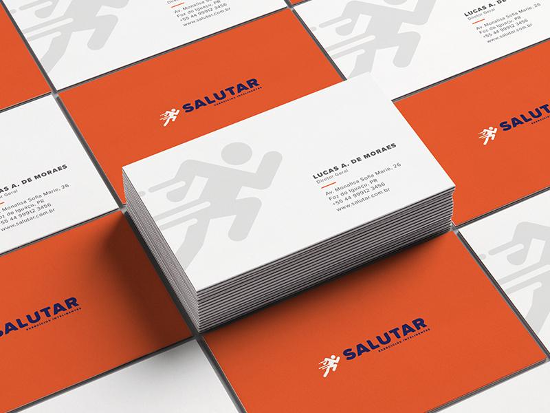 Salutar business card mockup visual identity design graphic design logo id branding