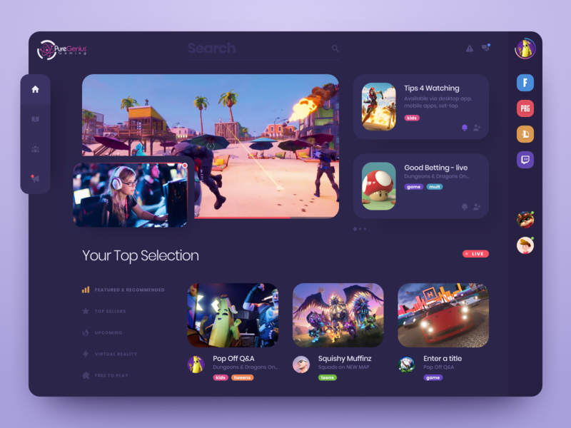 Game Dashboard video live ui design web interface application video streaming user interface design user experience design dashboard design stream twich games streaming app web app dashboad user interface ux ui