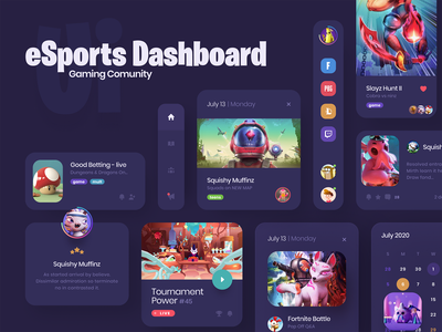 eSport Community Dashboard cards website design web app game design user experience board dashboard ui web application user interface design cards design game ui  ux dashboard application ui design user interface web interface design ui