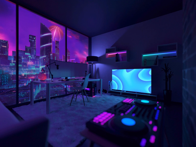 Dribbble Dreams art mood 3d illustration illustration blender 3d render 3d scene 3d art scene lights modeling blender night city design 3d animation animation 3d room ninja dribbble