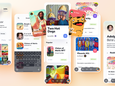 NFTs Mobile Marketplace auction store nft mobile app design token app cryptocurrency blockchain nfts crypto collectibles digital items nft marketplace application mobile ui app design user interface interface ux ui