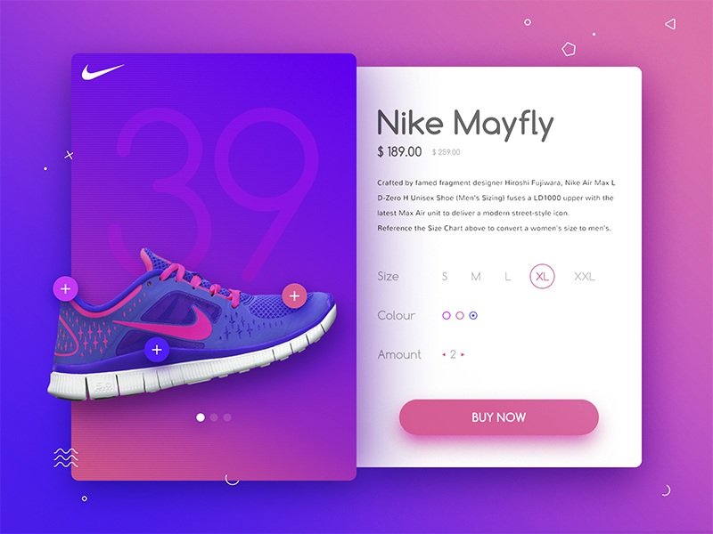 Nike Sneakers landing page dashboard e-commerce ecommerce widget user interface ui design material design shop shoes sneakers nike