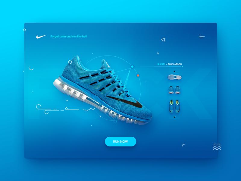 Nike air dashboard interface page landing design web responsive shoes nike shop product ui