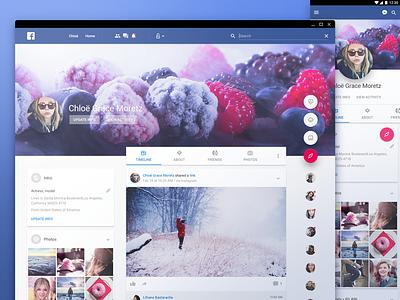 Facebook in material design ui web application interface material design mobile google facebook redesign social network dashboard
