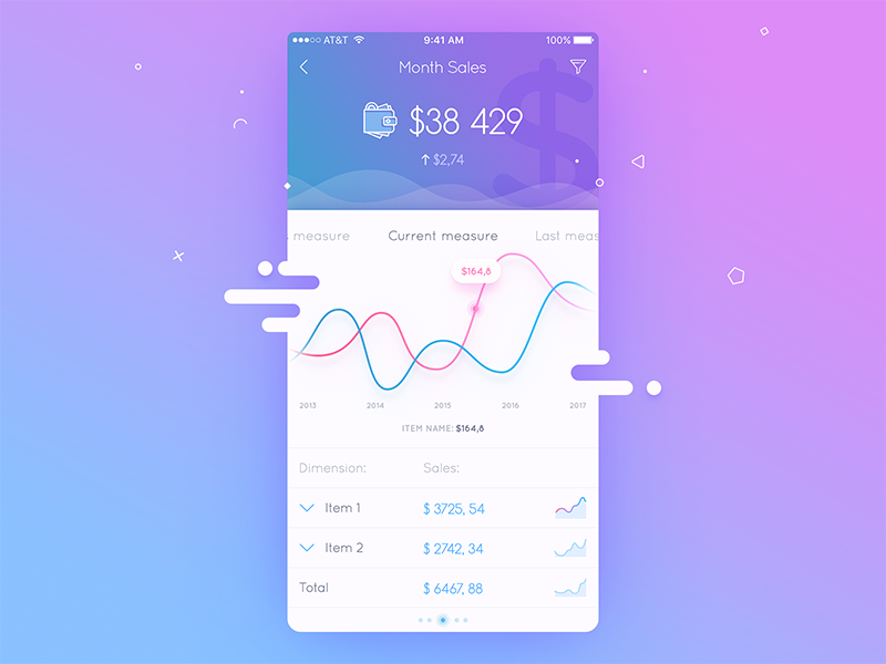 Application UI ios application mobile colors filters graphs sales charts administration admin panel material design dashboard