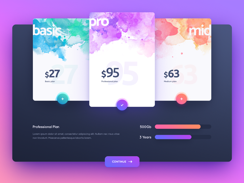 Plan  price sales offer payment landing sale material interface ui web design page