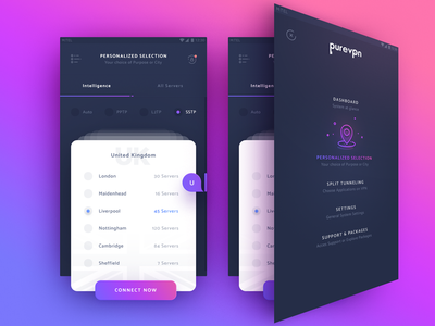 VPN application application design application ui dashboard ui ui design user interface mobile app app design mobile app design mobile design app country geo location mobile application interface material design ui vpn