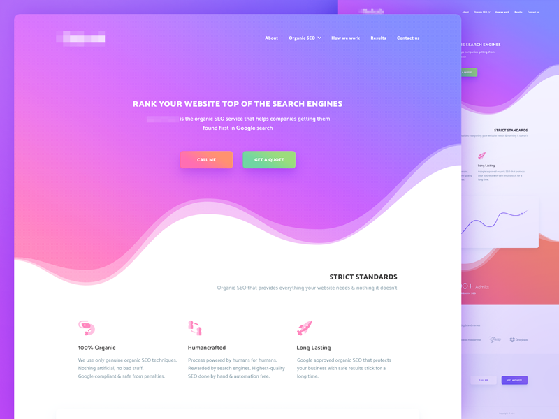 Landing page ico seo material interface gradient main site web design ui page landing