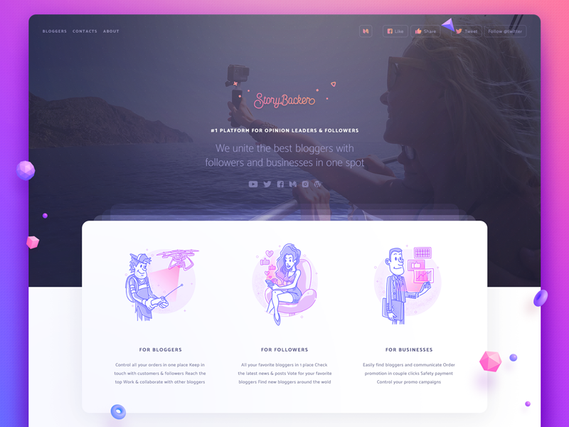 Storybacker web icon illustration interface user ui design image hero index page home