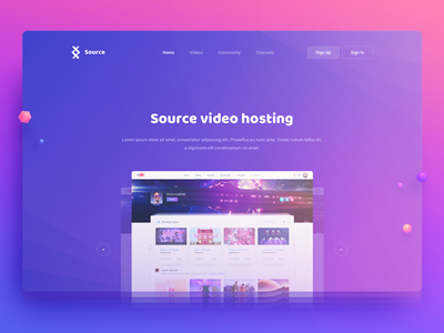 Source Video Hosting interface youtube hosting video site image hero ui web design page landing