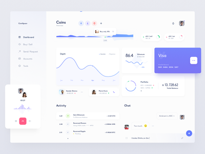 Dashboard UI cryptocurrency coin design interface currency ico token analytics stats crypto ui dashboard