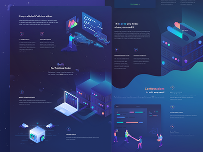 Coder landing page design illustration cryptocurrency ico token coin crypto site web ui page landing