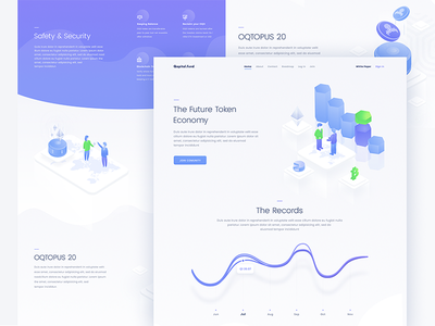 landing page design illustration cryptocurrency ico token coin crypto site web ui page landing