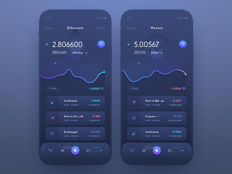 Ui Crypto Wallet design currency exchange dashboard coin token crypto interface user mobile ui app