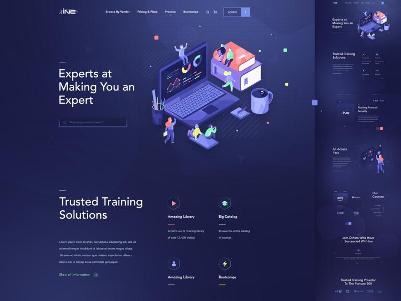 Landing page illustration image hero school online course solutions training site web design ui page landing