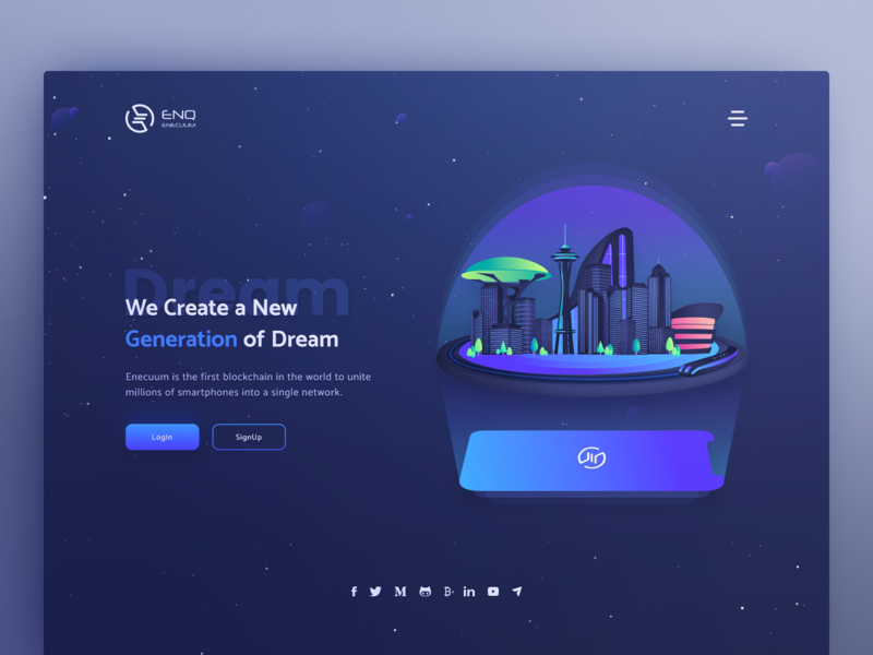 Landing page token google material art illustration image hero interface user btc coins coin currency crypto site page landing ui design web