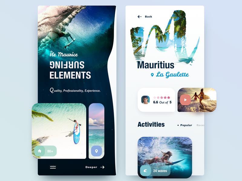 Ile Maurice app branding rest summer islands island trip weekend board surf application user mauritius vacation sea surfing mobile app interface design ui