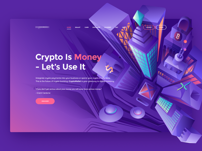 Hero image - Crypto city coin interface web page landing crypto website crypto currency money design landing  page btc city hero image crypto exchange exchange wallet cryptocurrency header crypto illustration