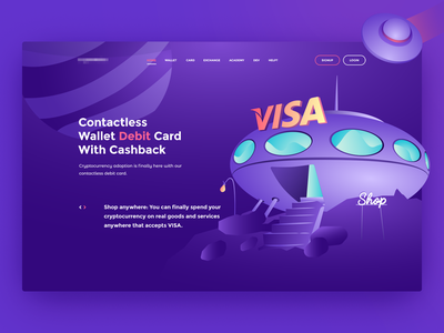 Illustration web token visa hero image coin btc ui transaction card cashback ufo wallet hero banner design user inteface landing page payment illustraion crypto currency crypto