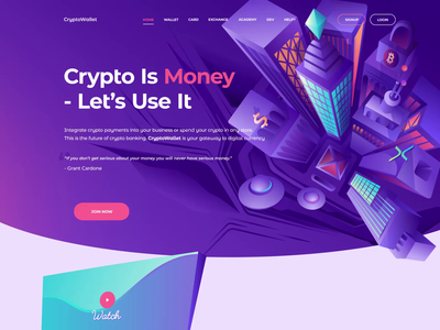 landing page payment ui animation mp4 hero image crypto wallet user token illustration cryptocurrency landing site coin crypto page web interface design ui user interface landing page