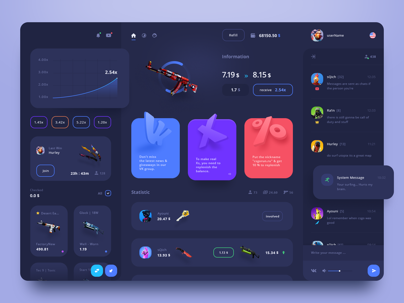 CSGO user interface dashboard app ux user interface design game csgo application user crypto user interface page dashboard web interface design ui