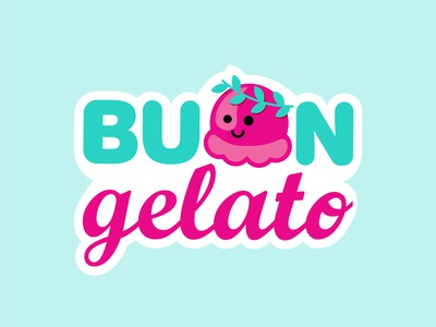 Buon Gelato typography illustration vector design