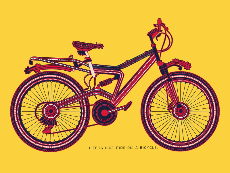 Bicycle mural illustration bycicle