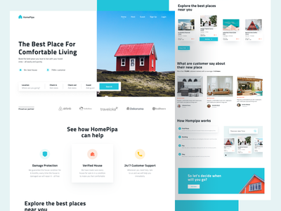 HomePipa - Real Estate Landing Page home real estate dribbble design graphic design ux ui dailyui interface digital website figma simple minimal concept landing page