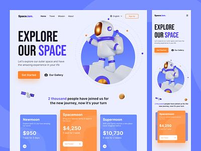 Space Travel Landing Page dribbble art design ux ui uiux dailyui interface graphic design figma simple minimal concept website space 3d