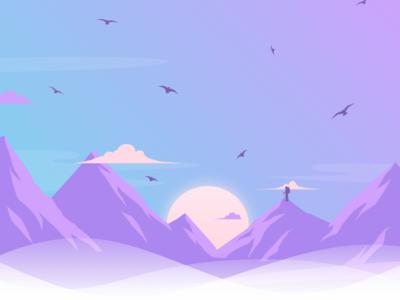 . Mountains art sunset alpinism climb mountaints illustration