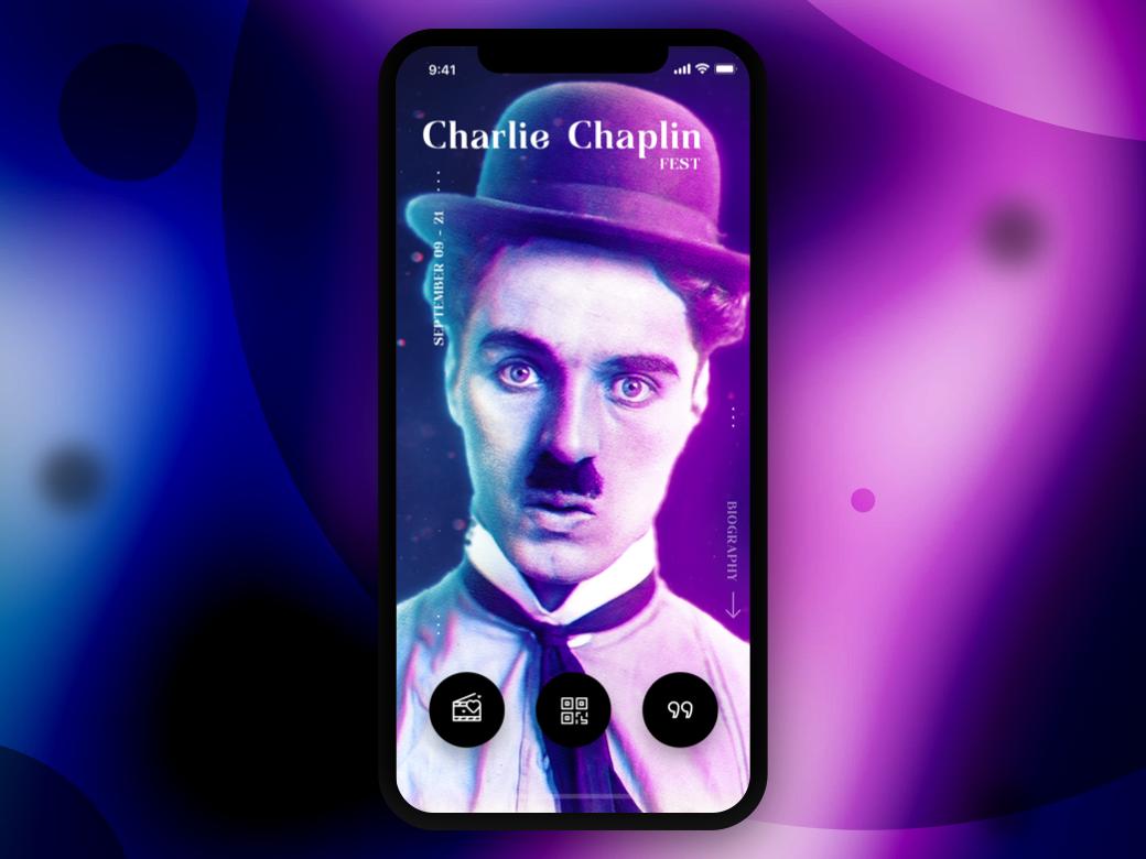 . Charlie Chaplin disco retro chaplin film movie cinema festival main shine bright navigation menu start iphone ios mobile app