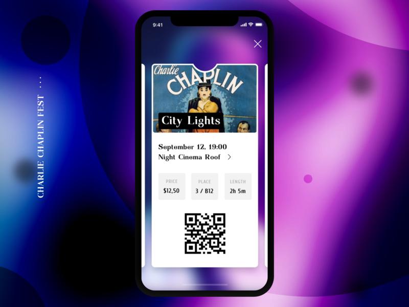 . Tickets chaplin festival disco qr movie film cinema tickets iphone ios mobile app ui