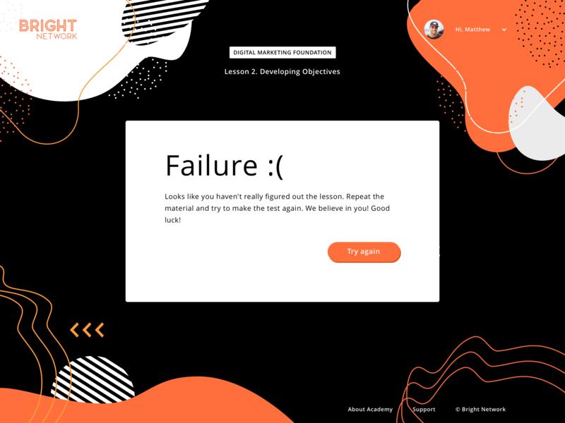 . Failure result finish fail geometry art ui site web lesson academy test