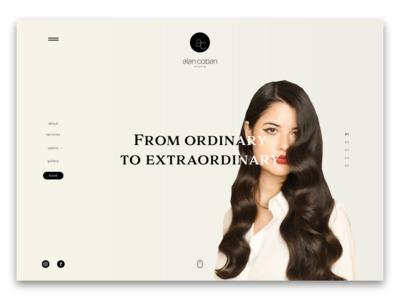 Hair Salon Website Concept photography minimal work in progress design concept web design