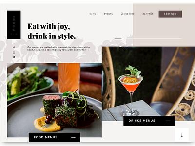 ABODE Bistro - Menus Scroll Jacking ux ui work in progress design interaction design web design